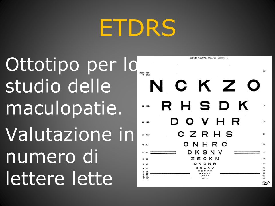 ETDRS Ottotipo per lo studio delle maculopatie. Valutazione in numero di lettere lette