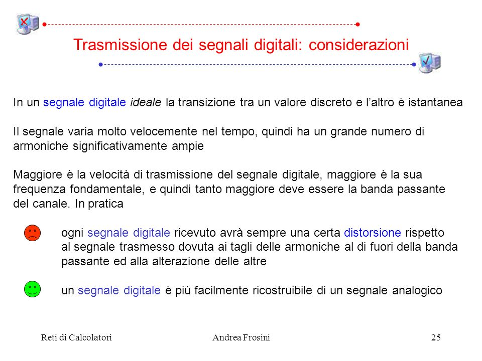 Trasmissione dei segnali digitali: considerazioni