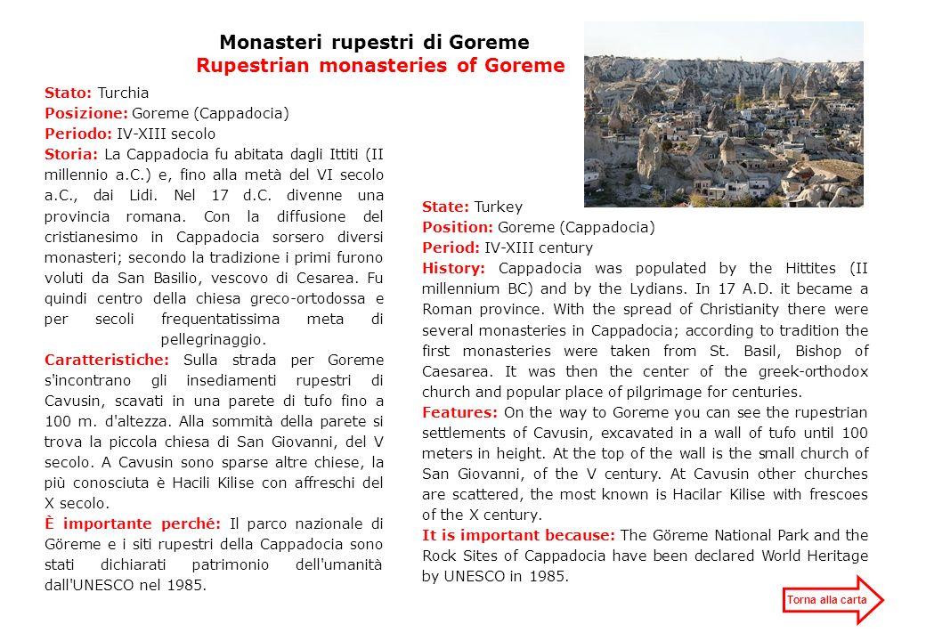Monasteri rupestri di Goreme Rupestrian monasteries of Goreme