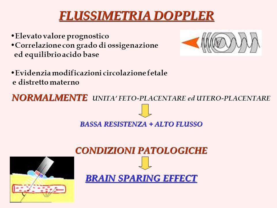 FLUSSIMETRIA DOPPLER Elevato valore prognostico. Correlazione con grado di ossigenazione. ed equilibrio acido base.