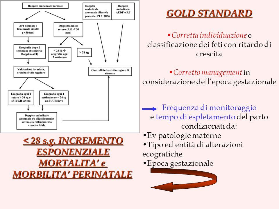 GOLD STANDARD < 28 s.g. INCREMENTO ESPONENZIALE MORTALITA' e