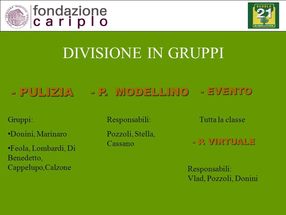 DIVISIONE IN GRUPPI - PULIZIA - P. MODELLINO - EVENTO - P. VIRTUALE