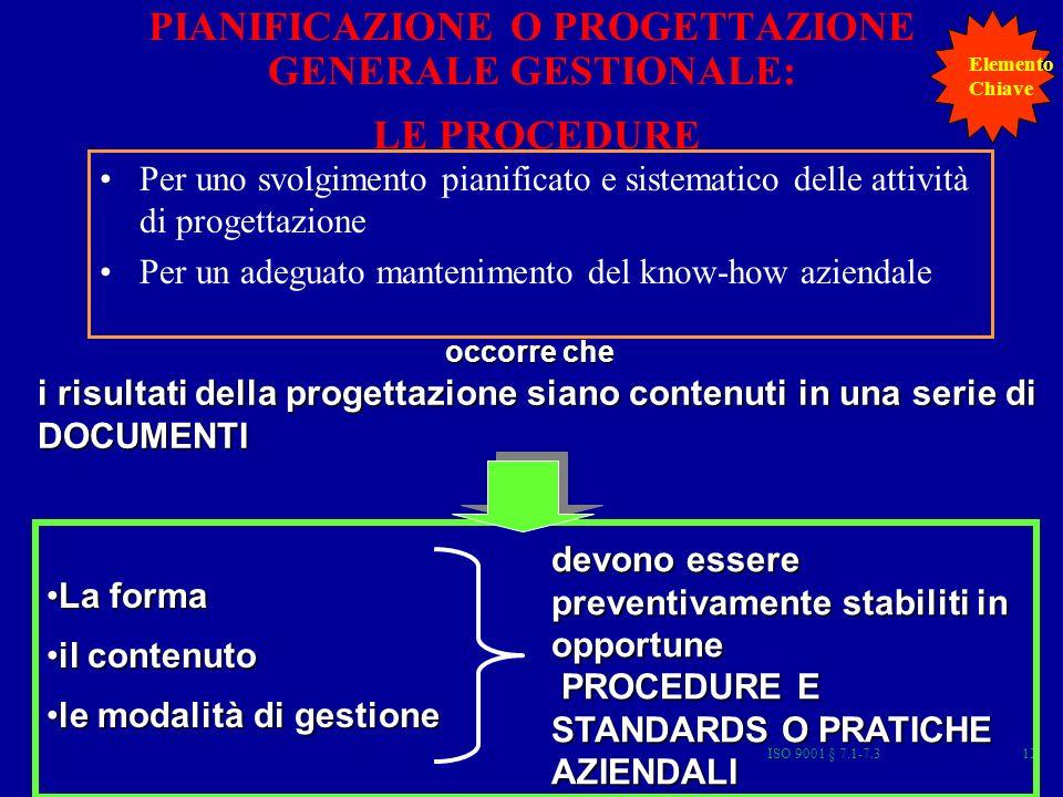 PIANIFICAZIONE O PROGETTAZIONE GENERALE GESTIONALE: LE PROCEDURE