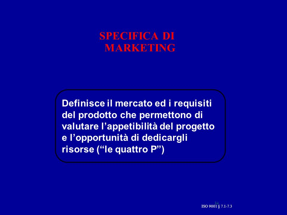 SPECIFICA DI MARKETING