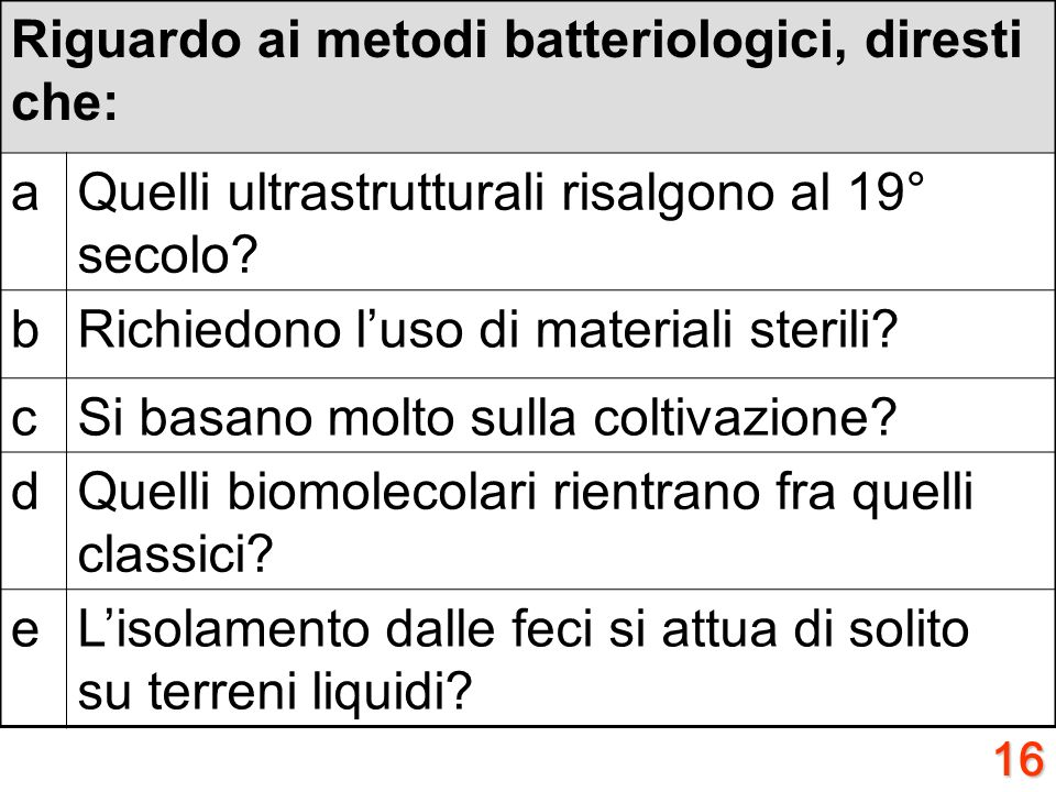 Riguardo ai metodi batteriologici, diresti che: