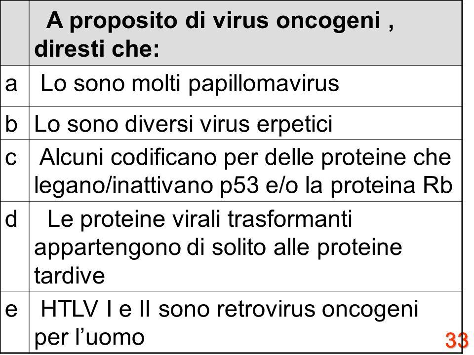 Lo sono molti papillomavirus b Lo sono diversi virus erpetici c