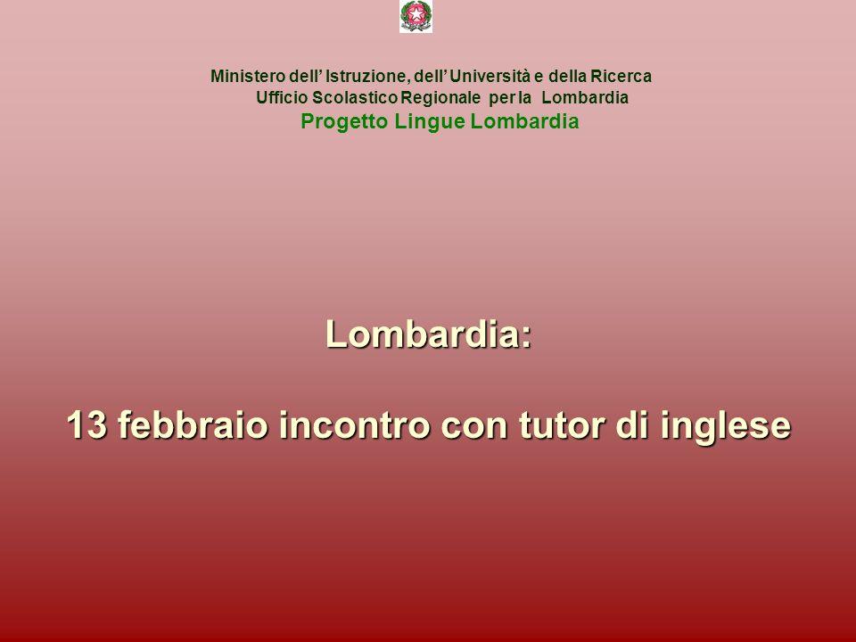 Lombardia: 13 febbraio incontro con tutor di inglese