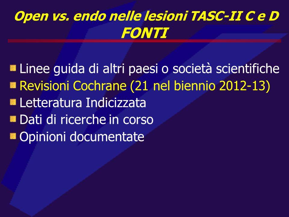 Open vs. endo nelle lesioni TASC-II C e D FONTI