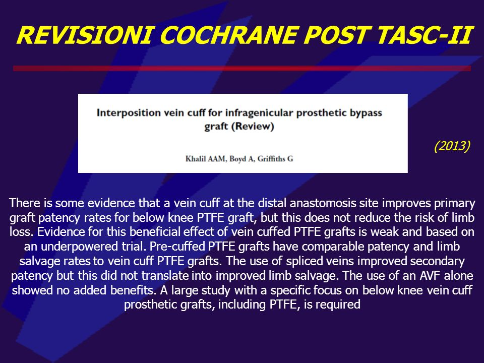 REVISIONI COCHRANE POST TASC-II