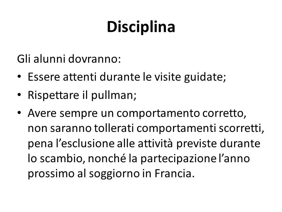 Disciplina Gli alunni dovranno: