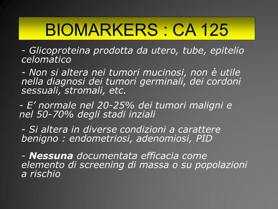BIOMARKERS : CA 125 Glicoproteina prodotta da utero, tube, epitelio celomatico.
