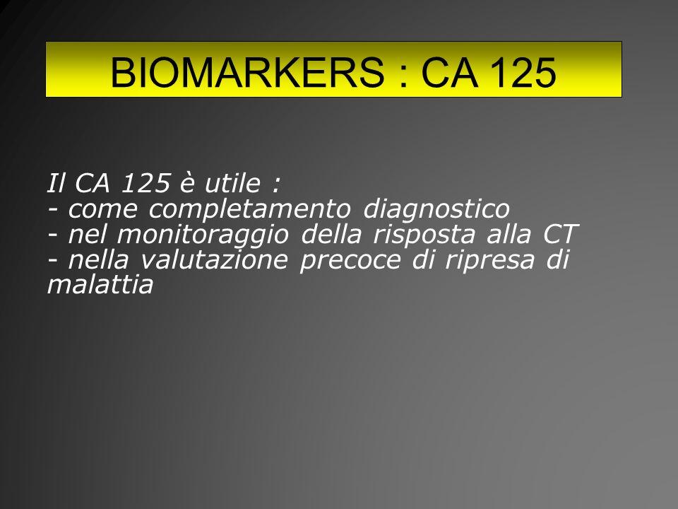 BIOMARKERS : CA 125 Il CA 125 è utile :