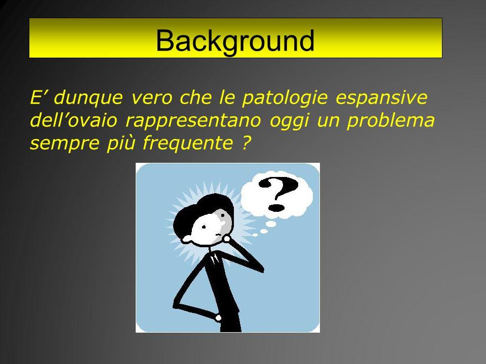 Background E' dunque vero che le patologie espansive dell'ovaio rappresentano oggi un problema sempre più frequente