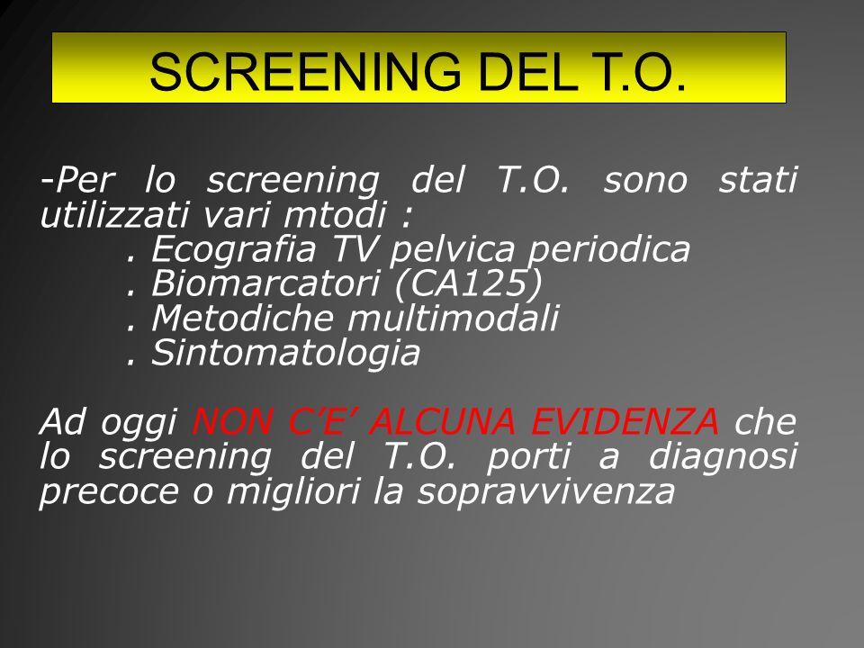 SCREENING DEL T.O. Per lo screening del T.O. sono stati utilizzati vari mtodi : . Ecografia TV pelvica periodica.