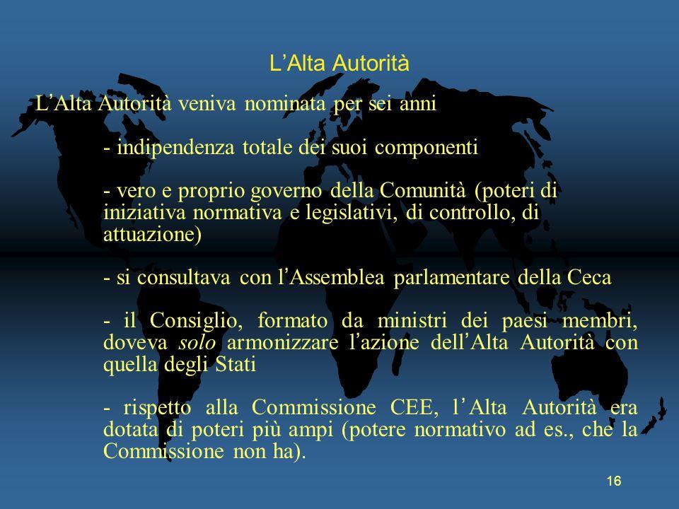 L'Alta Autorità L'Alta Autorità veniva nominata per sei anni. - indipendenza totale dei suoi componenti.