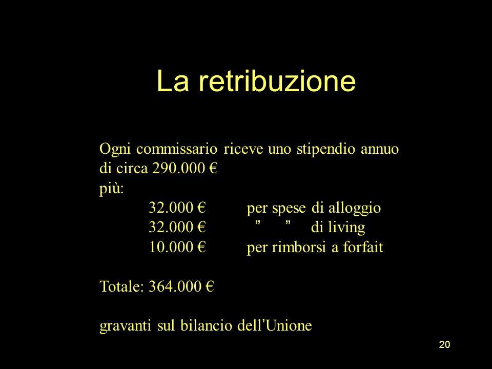 La retribuzione Ogni commissario riceve uno stipendio annuo di circa 290.000 € più: 32.000 € per spese di alloggio.