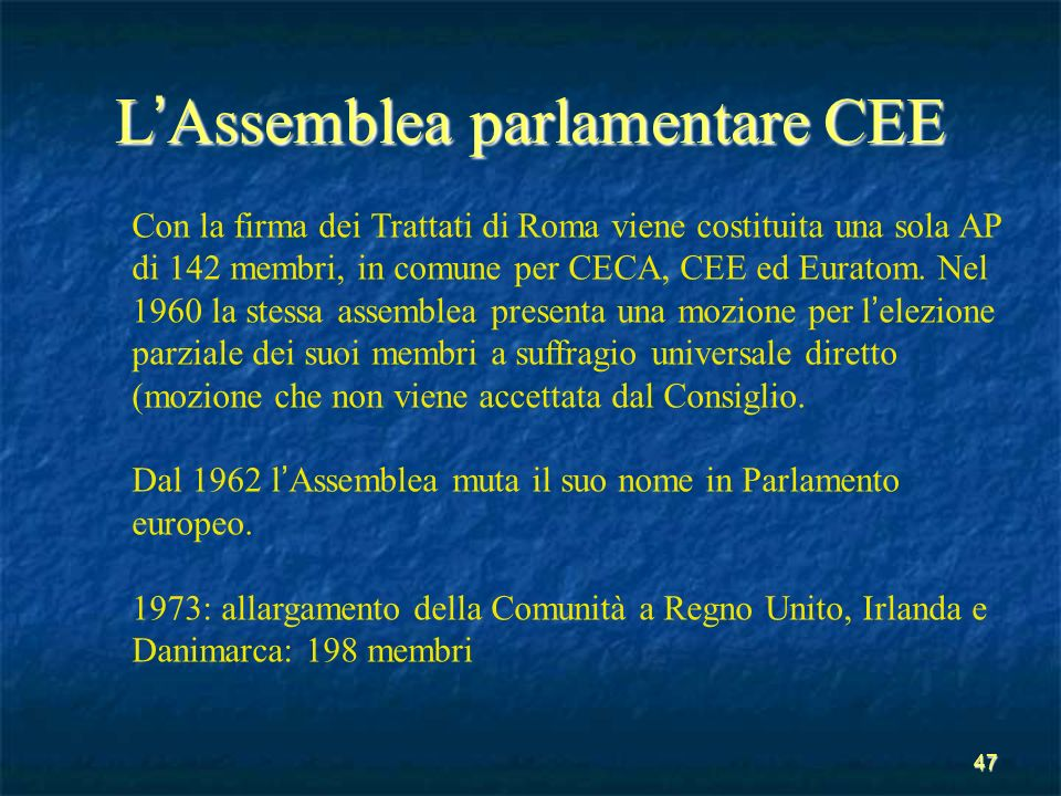 L'Assemblea parlamentare CEE