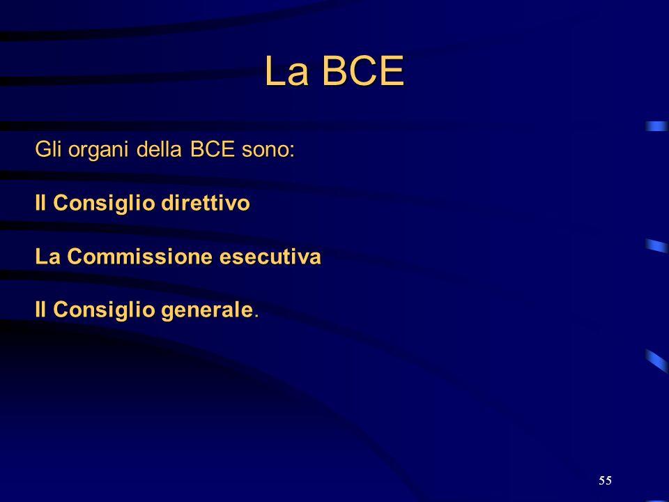 La BCE Gli organi della BCE sono: Il Consiglio direttivo