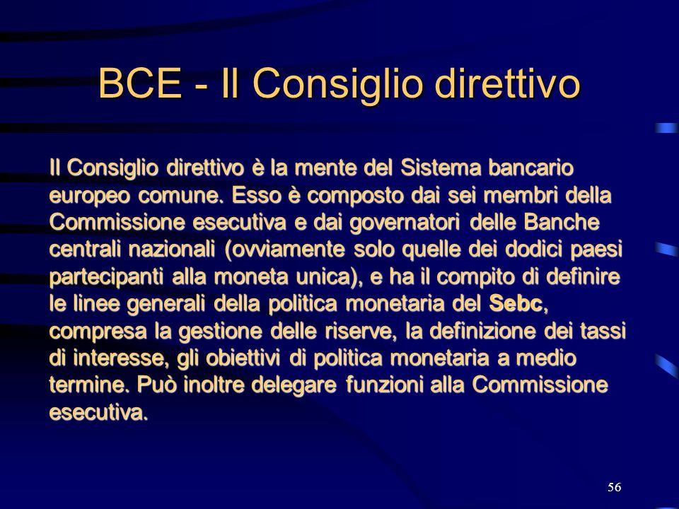 BCE - Il Consiglio direttivo