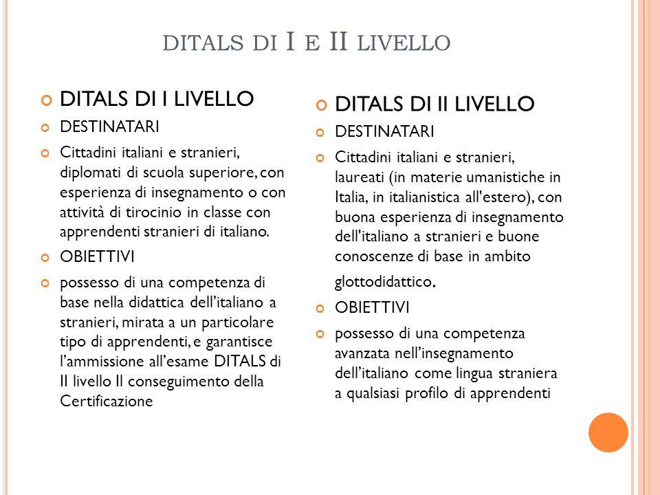 ditals di I e II livello DITALS DI I LIVELLO DITALS DI II LIVELLO