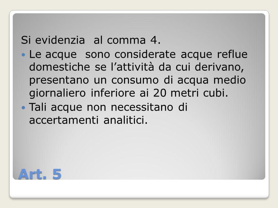 Art. 5 Si evidenzia al comma 4.