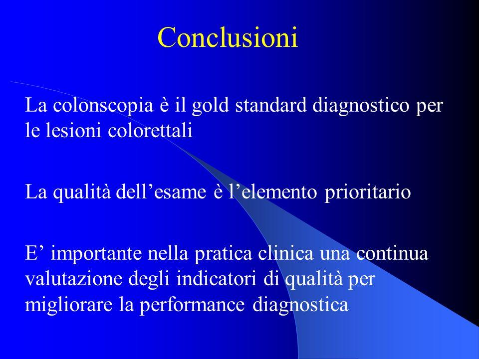 Conclusioni La colonscopia è il gold standard diagnostico per le lesioni colorettali. La qualità dell'esame è l'elemento prioritario.