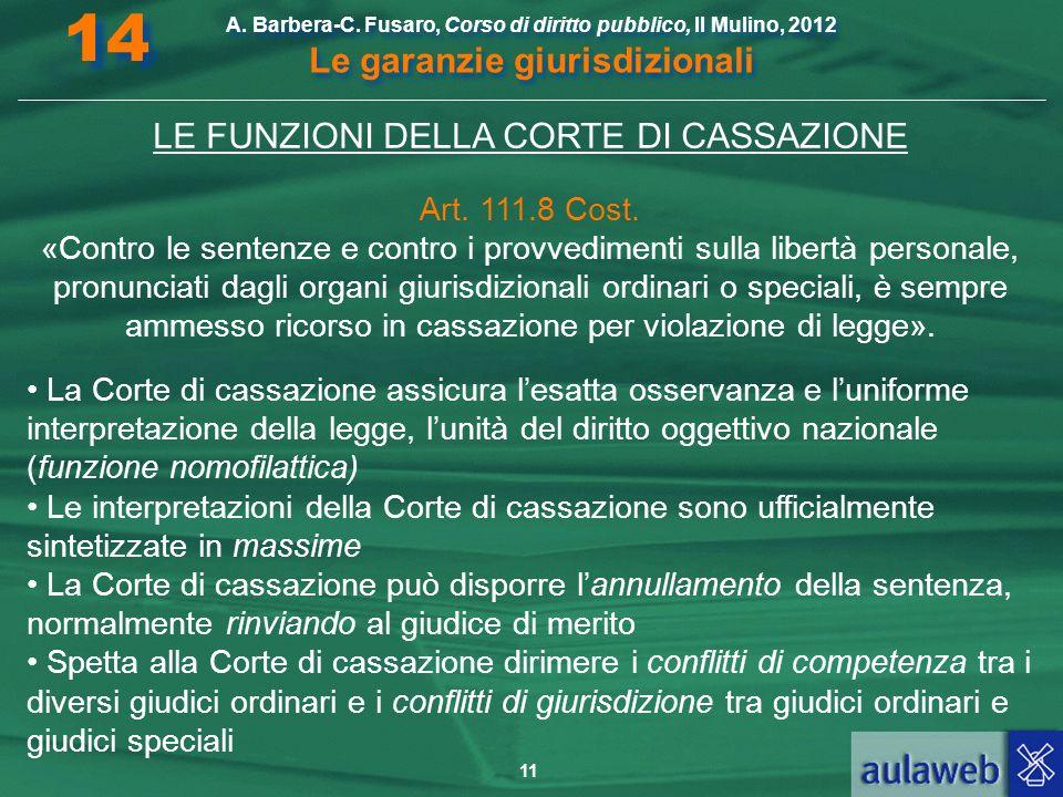 LE FUNZIONI DELLA CORTE DI CASSAZIONE