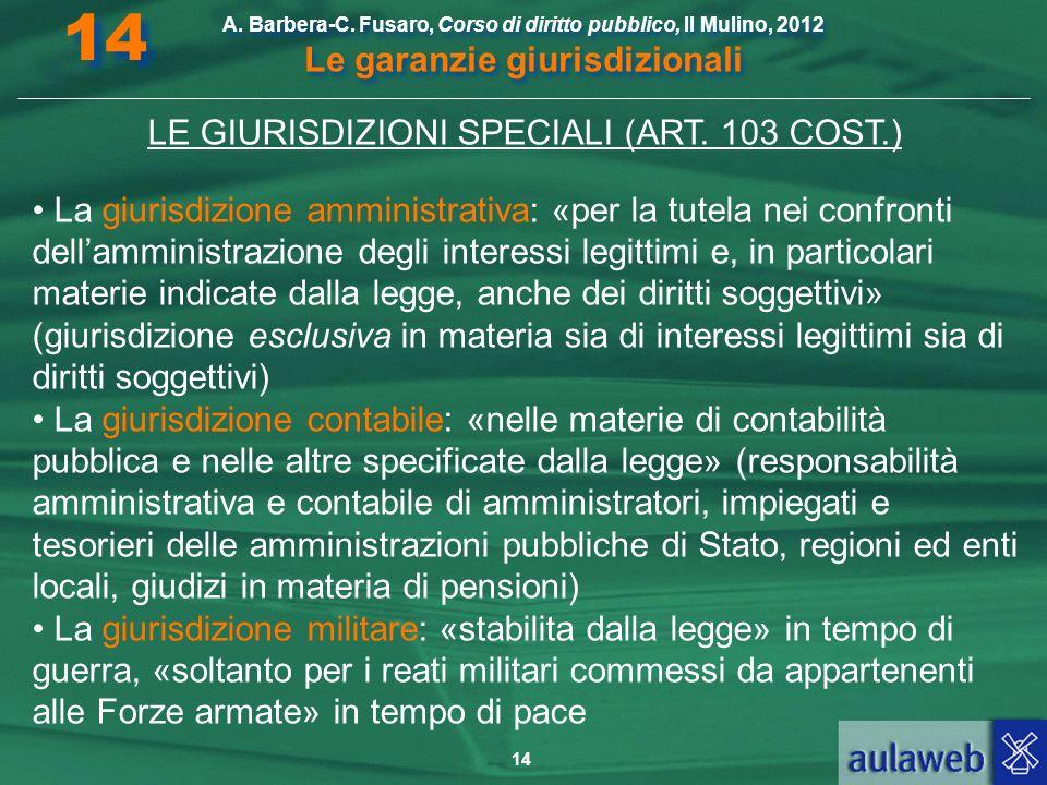 LE GIURISDIZIONI SPECIALI (ART. 103 COST.)