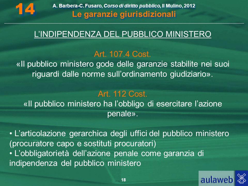 14 L'INDIPENDENZA DEL PUBBLICO MINISTERO Art. 107.4 Cost.
