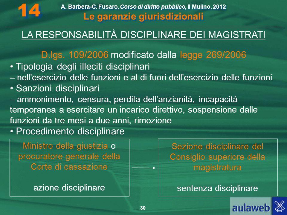 14 LA RESPONSABILITÀ DISCIPLINARE DEI MAGISTRATI
