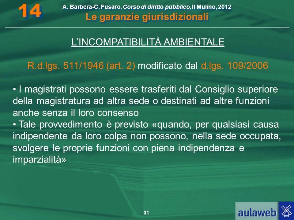 14 L'INCOMPATIBILITÀ AMBIENTALE