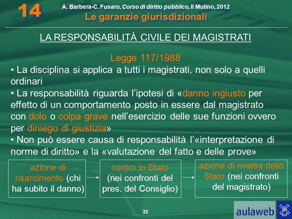 14 LA RESPONSABILITÀ CIVILE DEI MAGISTRATI Legge 117/1988