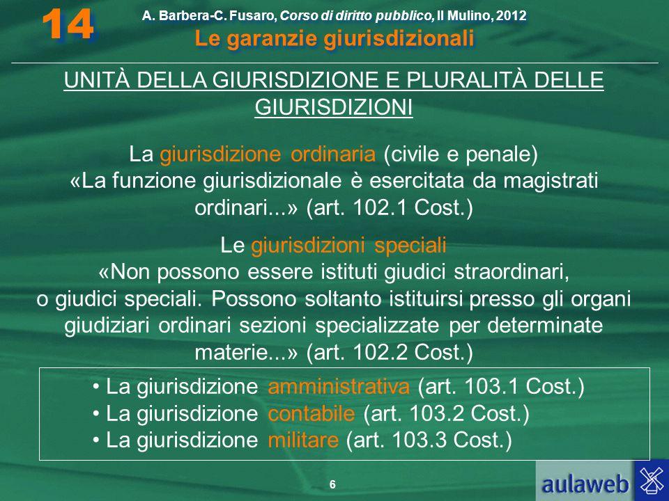 14 UNITÀ DELLA GIURISDIZIONE E PLURALITÀ DELLE GIURISDIZIONI