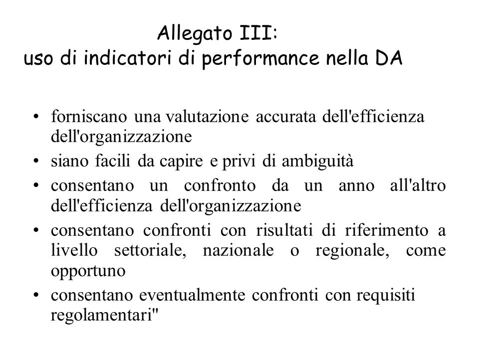 Allegato III: uso di indicatori di performance nella DA