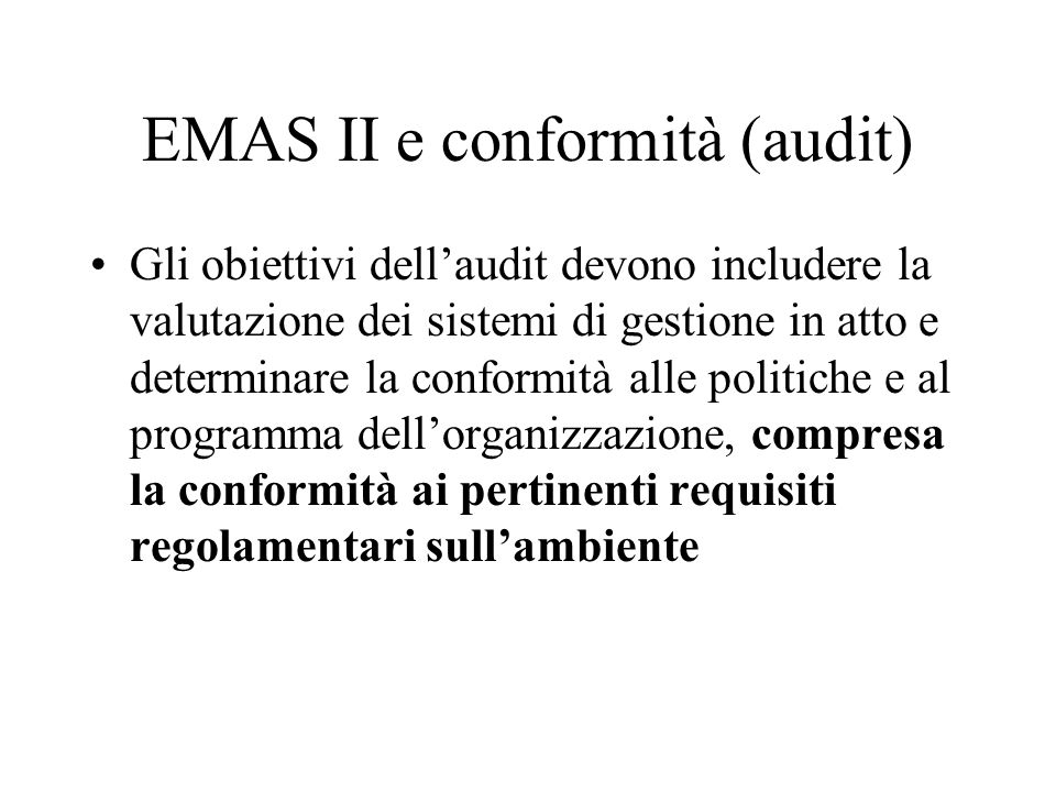EMAS II e conformità (audit)