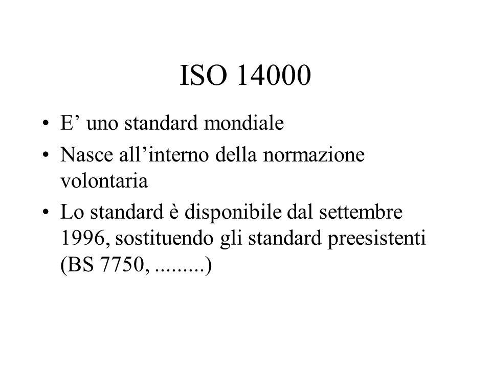 ISO 14000 E' uno standard mondiale