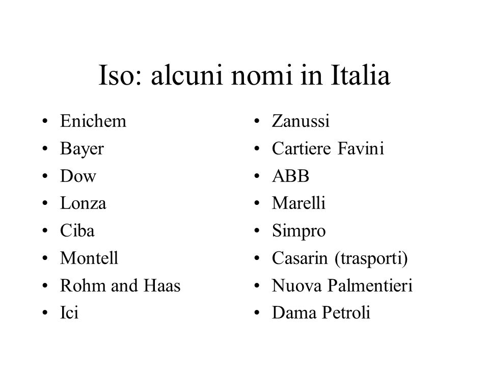Iso: alcuni nomi in Italia