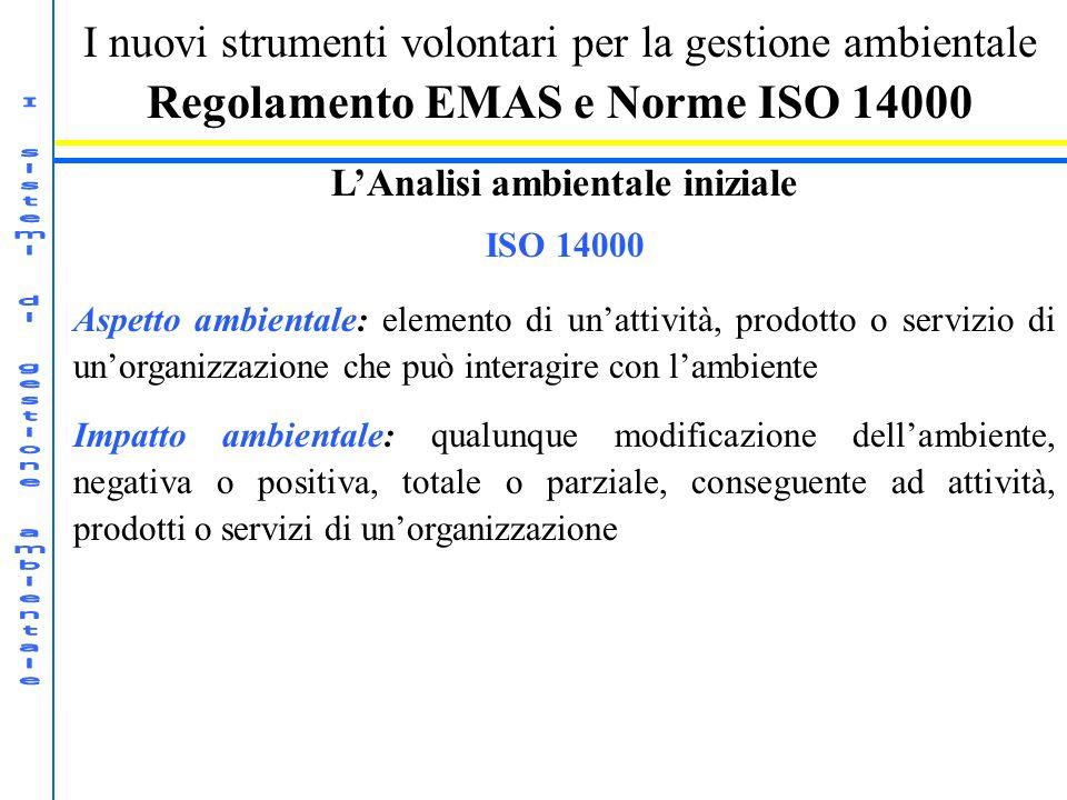Regolamento EMAS e Norme ISO 14000 L'Analisi ambientale iniziale