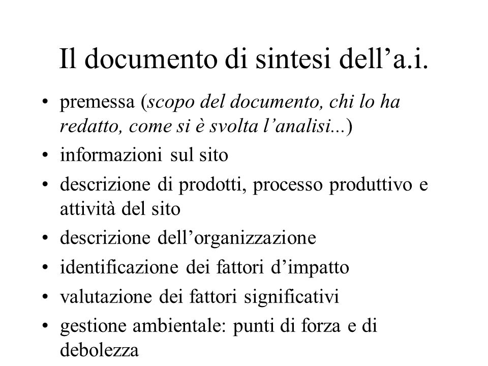 Il documento di sintesi dell'a.i.