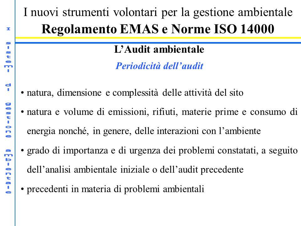 Regolamento EMAS e Norme ISO 14000 Periodicità dell'audit
