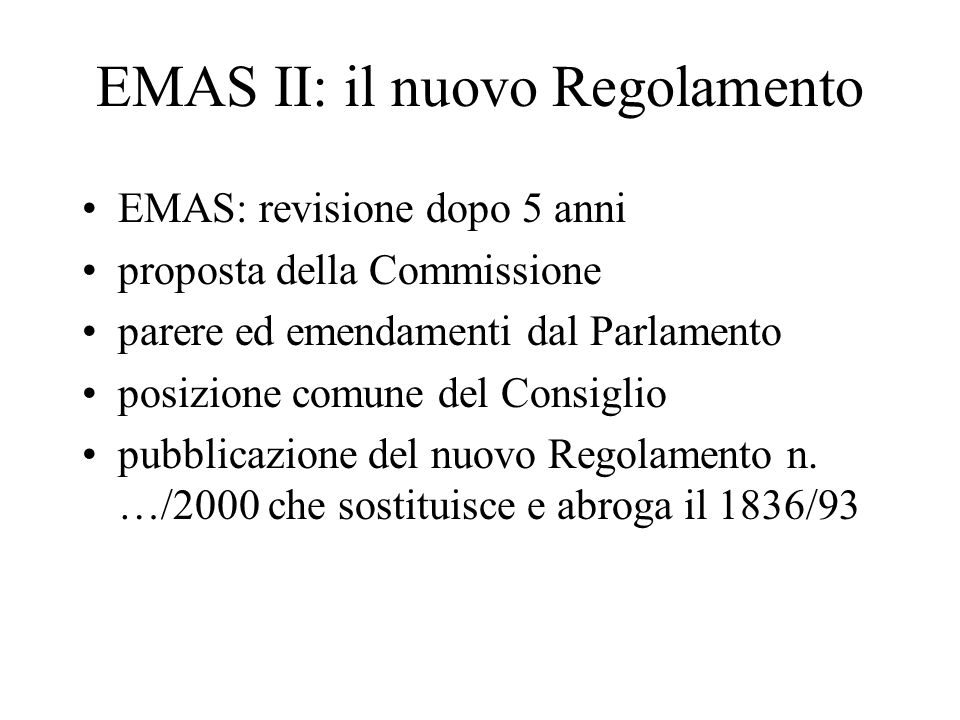 EMAS II: il nuovo Regolamento