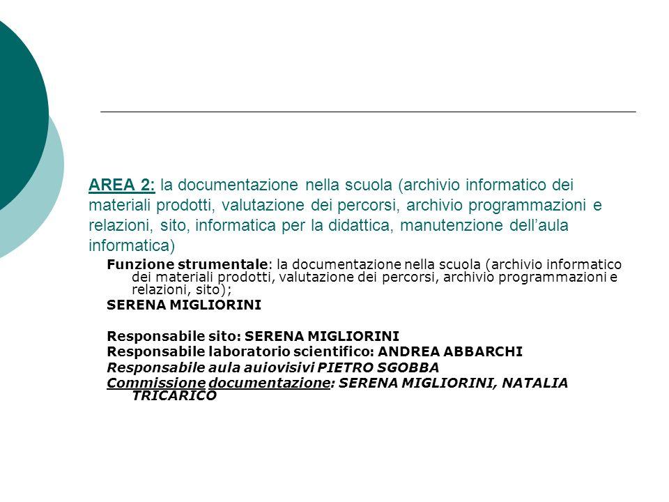 AREA 2: la documentazione nella scuola (archivio informatico dei materiali prodotti, valutazione dei percorsi, archivio programmazioni e relazioni, sito, informatica per la didattica, manutenzione dell'aula informatica)