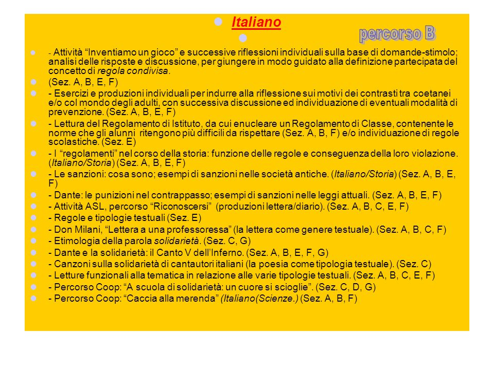 Italiano percorso B (Sez. A, B, E, F)