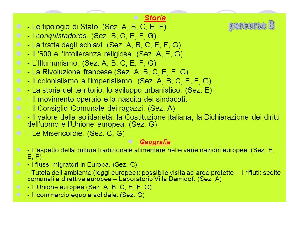 - Le tipologie di Stato. (Sez. A, B, C, E, F)