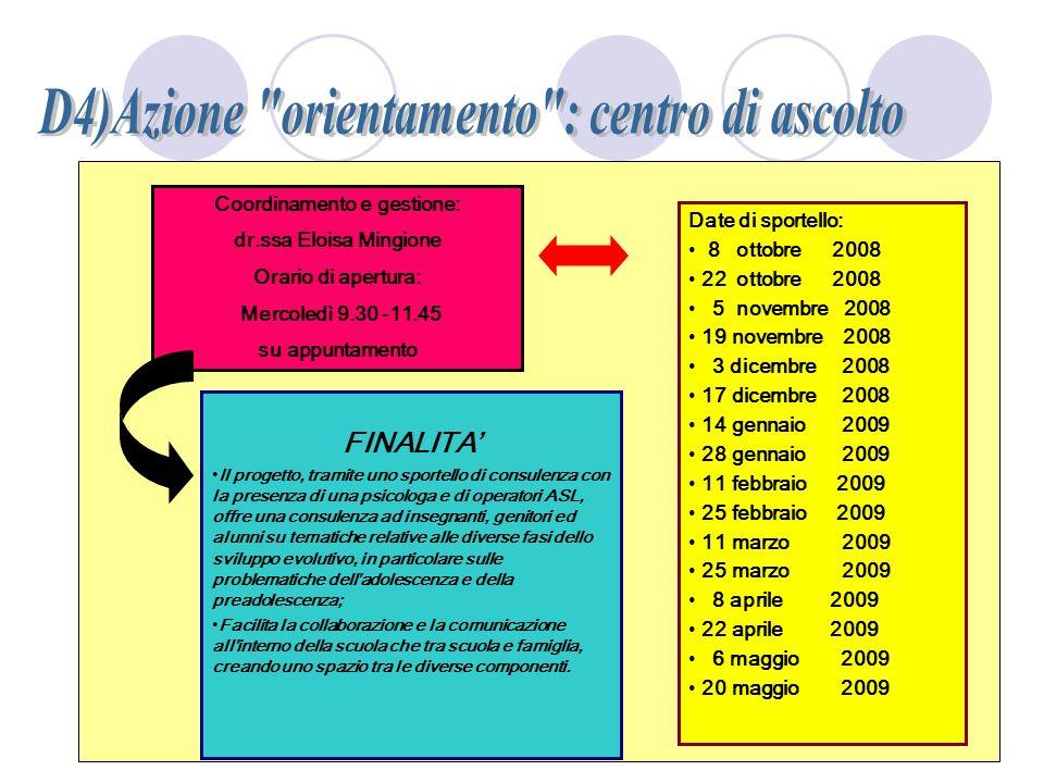 D4)Azione orientamento : centro di ascolto Coordinamento e gestione: