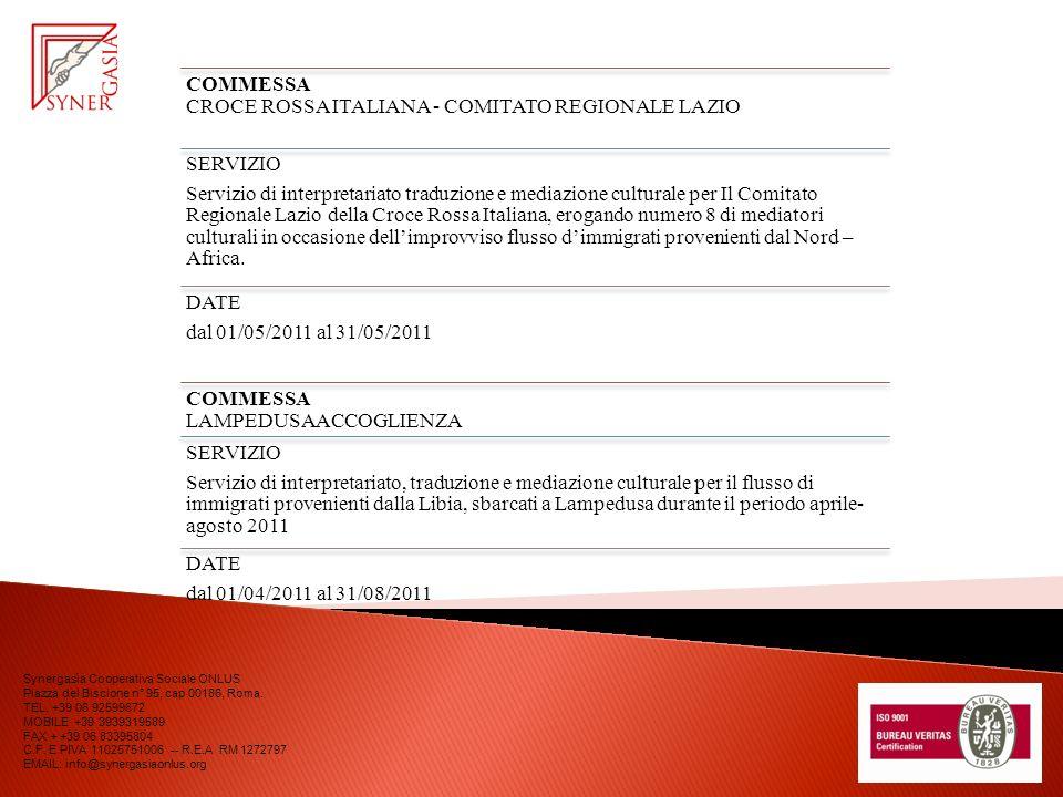COMMESSA CROCE ROSSA ITALIANA - COMITATO REGIONALE LAZIO