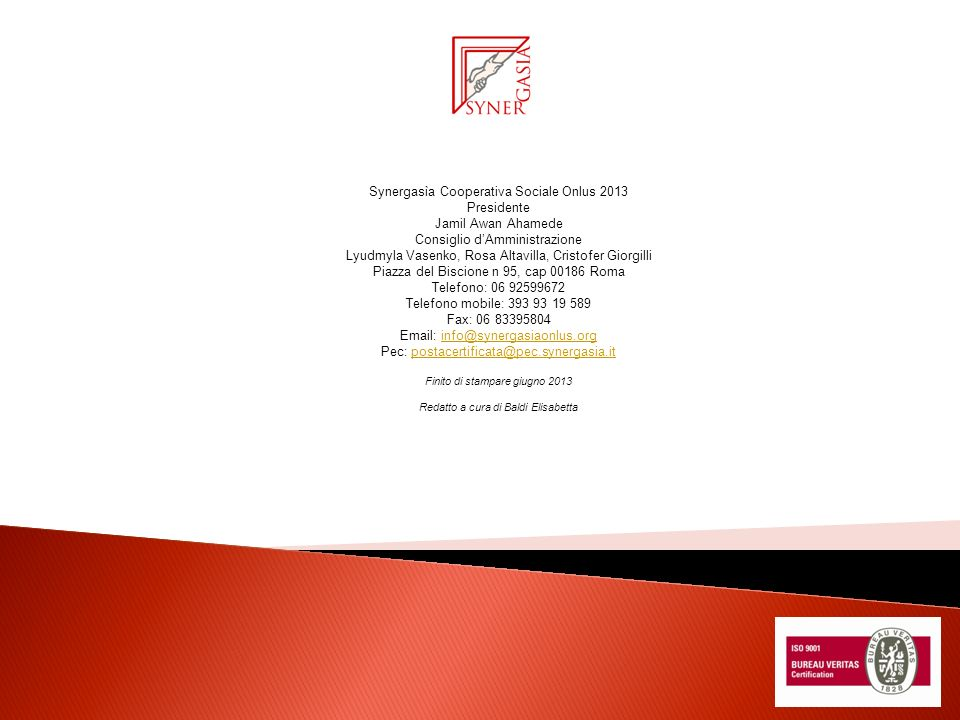 Synergasìa Cooperativa Sociale Onlus 2013 Presidente