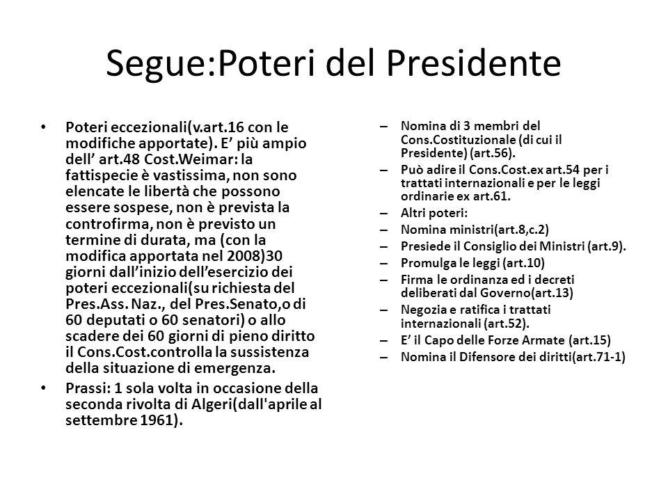 Segue:Poteri del Presidente