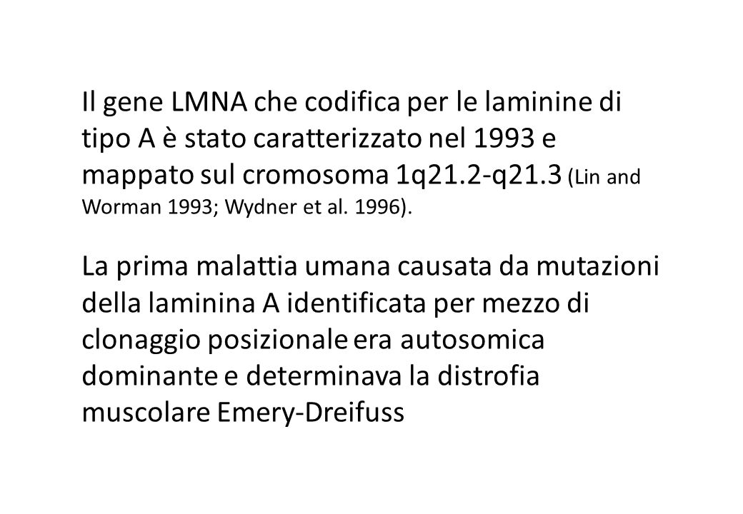 Il gene LMNA che codifica per le laminine di tipo A è stato caratterizzato nel 1993 e mappato sul cromosoma 1q21.2-q21.3 (Lin and Worman 1993; Wydner et al. 1996).