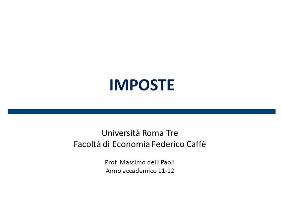 Imposte Università Roma Tre Facoltà di Economia Federico Caffè